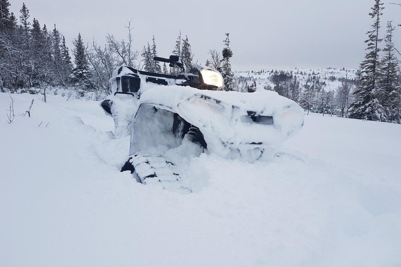 ATV Tatou 4S Camoplast tracks in deep snow