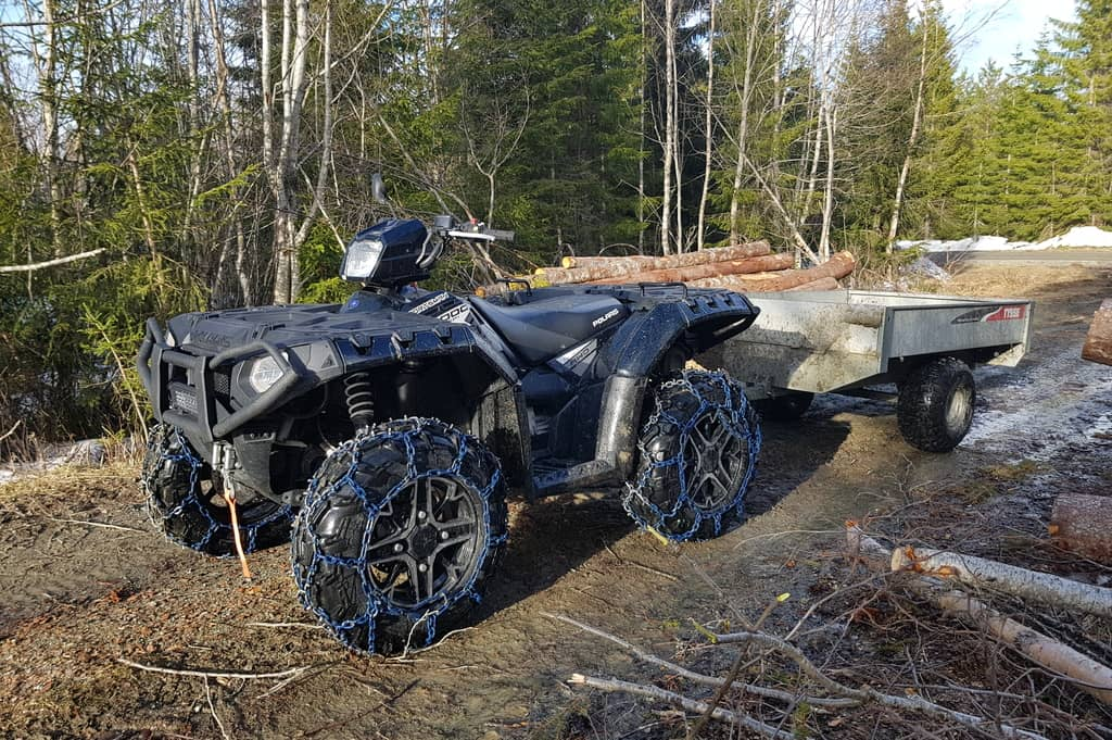 ATV chains firewood trailer