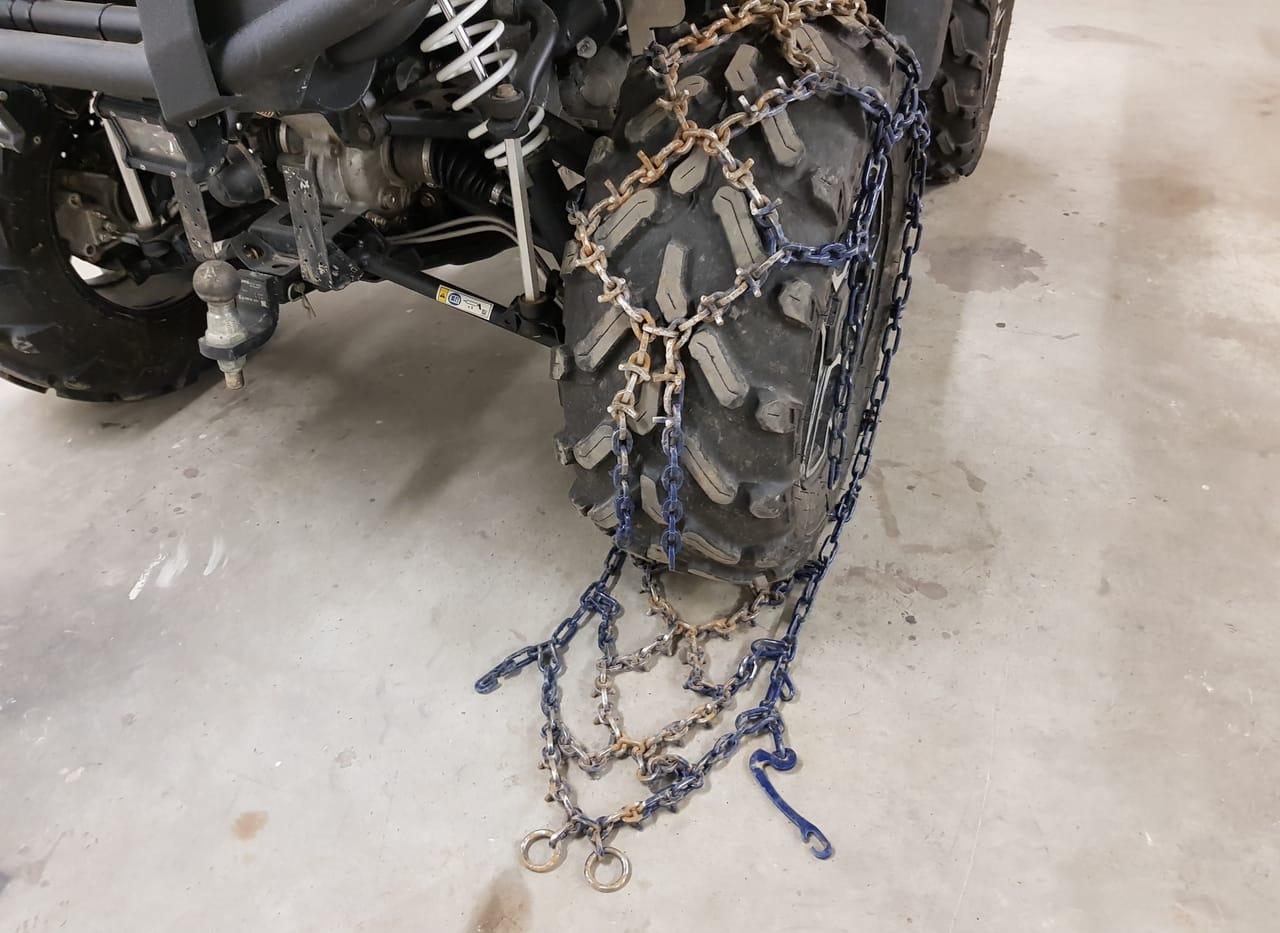 install atv tire chains rear wheel
