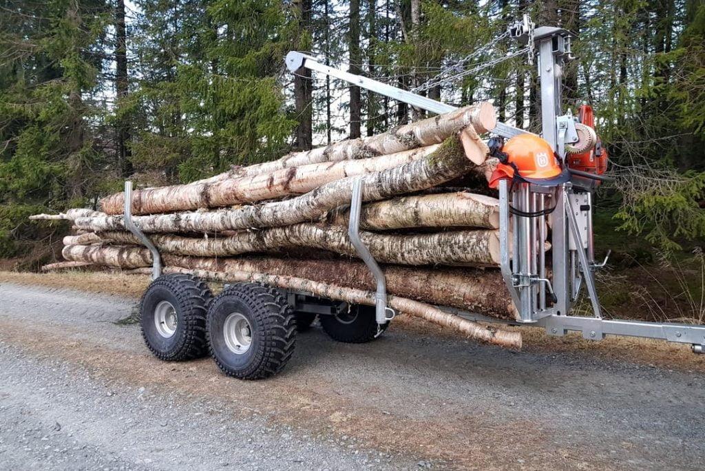 atv logging trailer with crane firewood