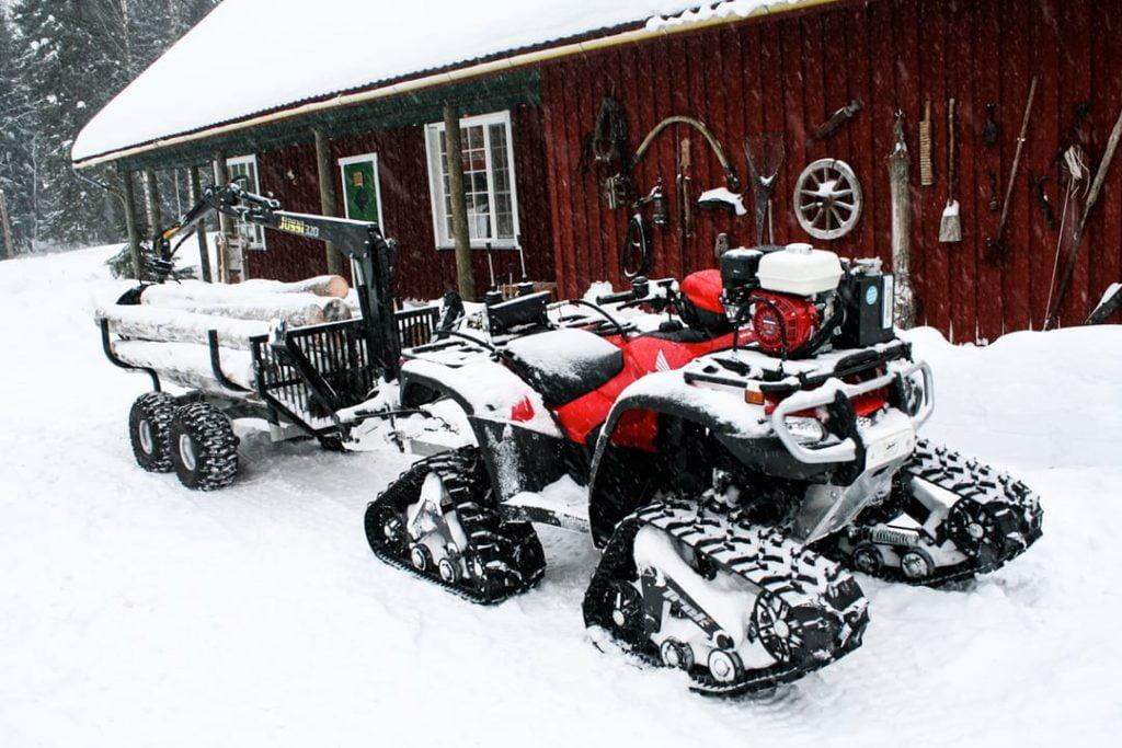 atv logging tracks snow