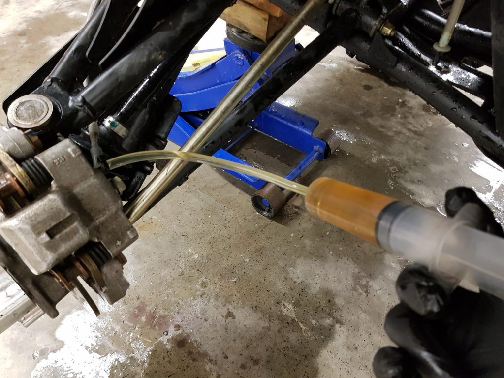 reverse bleed atv brakes syringe diy