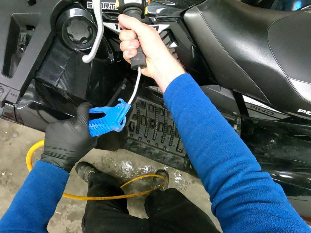 remove atv grips compressed air