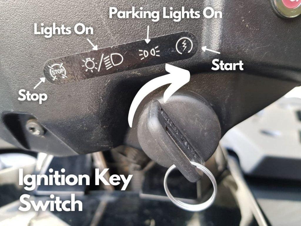 ATV ignition key switch